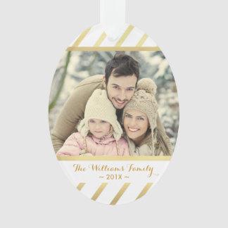 Gold and White Custom Photo Christmas Ornament