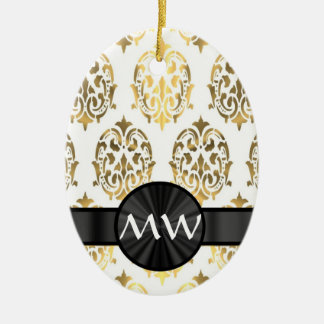 Gold and white damask pattern christmas ornament