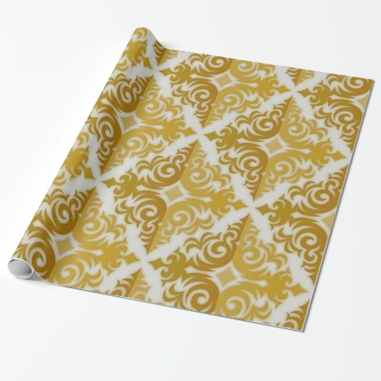 Gold and White Damask Pattern Wrapping Paper