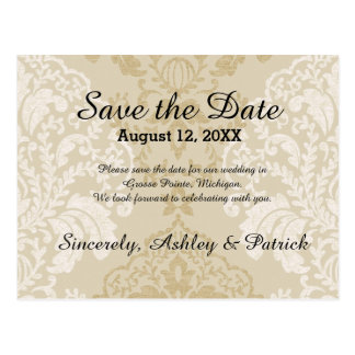 Gold and White Damask Save the Date Postcard