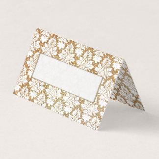 Gold and White Damask Wedding Folded Place Card