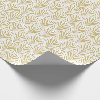 Gold and White Deco Fans Pattern Wrapping Paper