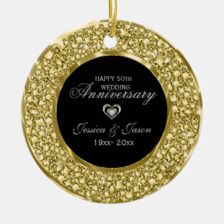 Gold And White Diamonds Silver Heart Christmas Ornament