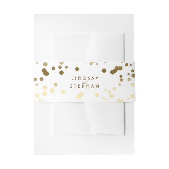 Gold and White Elegant Confetti Dots Wedding Invitation
