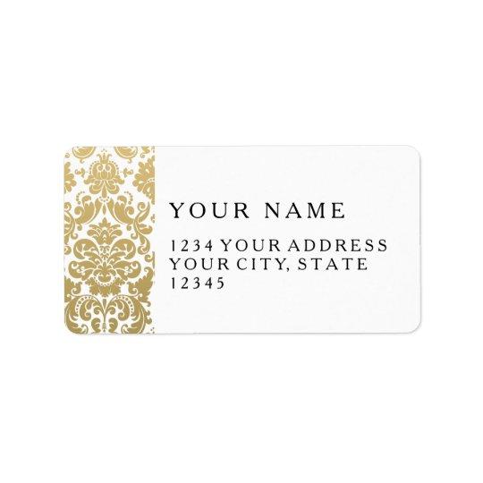 Gold and White Elegant Damask Pattern Address Label
