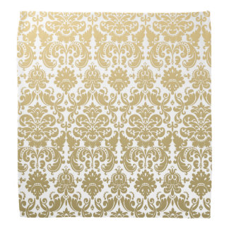 Gold and White Elegant Damask Pattern Bandana