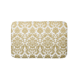 Gold and White Elegant Damask Pattern Bath Mat