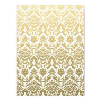 Gold and White Elegant Damask Pattern Card