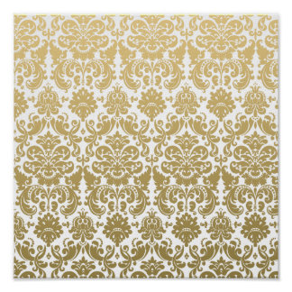 Gold and White Elegant Damask Pattern Poster