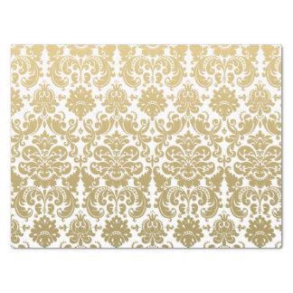 Gold and White Elegant Damask Pattern Tissue Paper