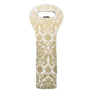 Gold and White Elegant Damask Pattern Wine Bag