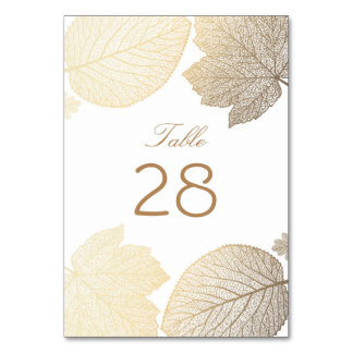Gold and White Fall Leaves Wedding Card