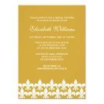 Gold and White Fleur de Lis Bridal Shower 13 Cm X 18 Cm Invitation Card