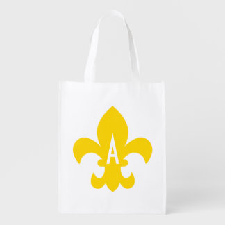 Gold and White Fleur de Lis Monogram Reusable Grocery Bag