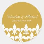 Gold and White Fleur de Lis Wedding Favour Label Round Sticker