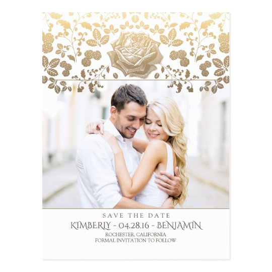 Gold and White Floral Vintage Photo Save the Date Postcard