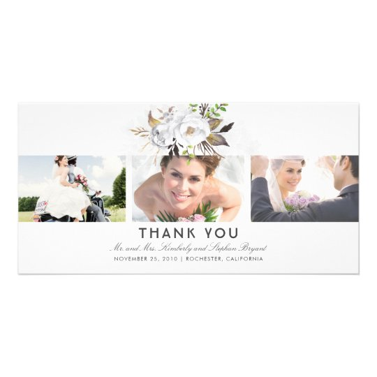 Gold and White Floral Wedding Thank You Photo Card