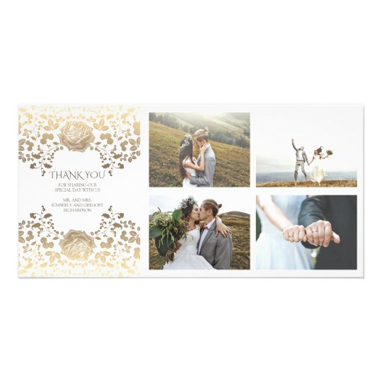 Gold and White Floral Wedding Thank You Photo Greeting Card