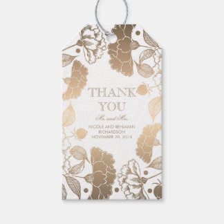 Gold and White Floral Wreath - Peonies Wedding Gift Tags