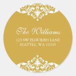 Gold and White Flourish Scroll Address Label