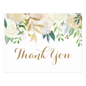 Gold and White Flower Wedding Thank You Postcards