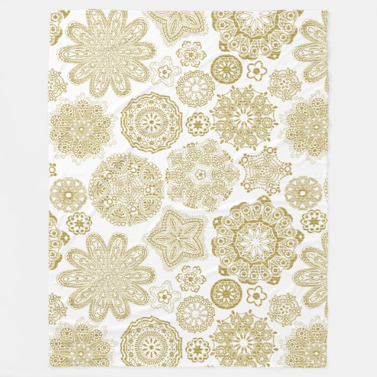 Gold And White Geometric Irises Pattern Fleece Blanket