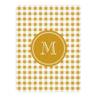 Gold and White Gingham, Your Monogram 17 Cm X 22 Cm Invitation Card