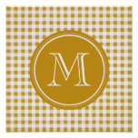 Gold and White Gingham, Your Monogram Poster