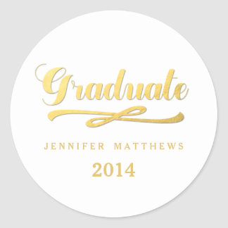 Gold and White Graduation Round Stickers