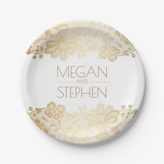 Gold and White Lace Floral Elegant Wedding 7 Inch Paper Plate