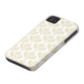 Gold and White Luxurious Damask Pattern Case-Mate iPhone 4 Case