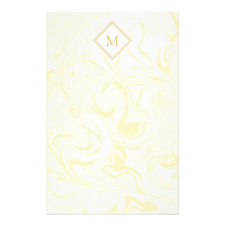 Gold and White Marble look with Diamond Monogram Stationery