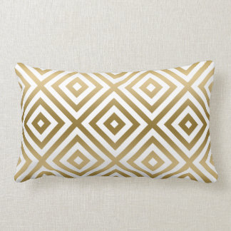 Gold And White Modern Geometric Pattern Lumbar Cushion