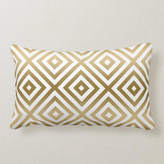 Gold And White Modern Geometric Pattern Lumbar Pillow
