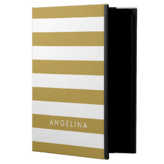 Gold and White Modern Striped Pattern Custom Name Powis iPad Air 2 Case
