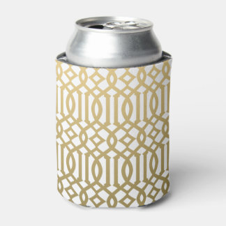 Gold and White Modern Trellis Pattern Can Cooler
