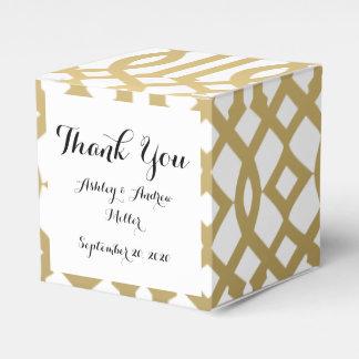 Gold and White Modern Trellis Pattern Favour Box