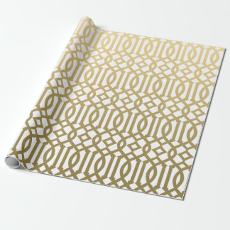 Gold and White Modern Trellis Pattern Wrapping Paper