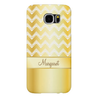 Gold and White Monogram Chevron pattern Samsung Galaxy S6 Cases