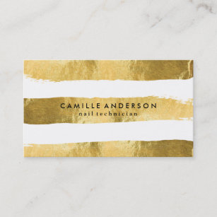 Nail technician business cards business card printing zazzle uk gold and white nail technician business cards reheart Gallery