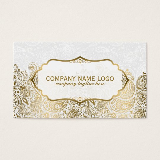 Gold And White Paisley Lace Business Card
