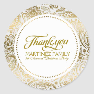 Gold And White Paisley Lace Thank You Round Sticker
