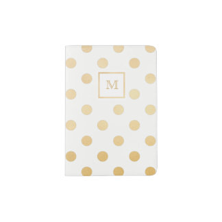 Gold and White Polka Dot Passport Holder