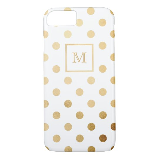 Gold and White Polka Dot Phone case