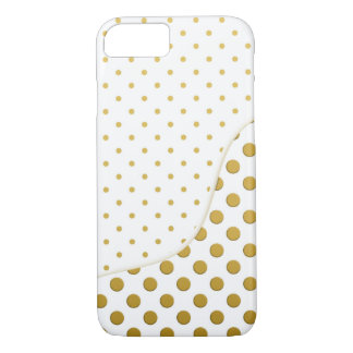 Gold and White Polka Dots Modern Art iPhone 7 Case