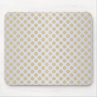 Gold and White Polka Dots Mouse Mat