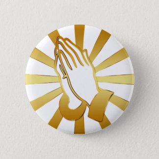 GOLD AND WHITE PRAYING HANDS 6 CM ROUND BADGE