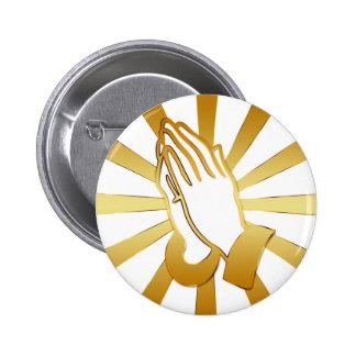GOLD AND WHITE PRAYING HANDS 6 CM ROUND BADGE