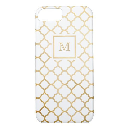 Gold and white quatrefoil pattern phone case