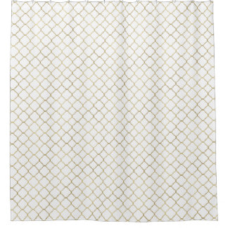 Gold and White Quatrefoil Shower Curtain